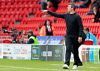 Fleetwood Town manager Joey Barton shouts instructions to his team from the dug-out <br /> <br /> Photographer David Shipman/CameraSport<br /> <br /> The EFL Sky Bet League One - Doncaster Rovers v Fleetwood Town - Saturday 6th October 2018 - Keepmoat Stadium - Doncaster<br /> <br /> World Copyright © 2018 CameraSport. All rights reserved. 43 Linden Ave. Countesthorpe. Leicester. England. LE8 5PG - Tel: +44 (0) 116 277 4147 - admin@camerasport.com - www.camerasport.com