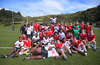 The teams pose for a group photo after the rugby match between New Zealand Schools Barbarians and Fiji Schools at Jerry Collins Stadium in Porirua, Wellington, New Zealand on Monday, 1 October 2018. Photo: Dave Lintott / lintottphoto.co.nz