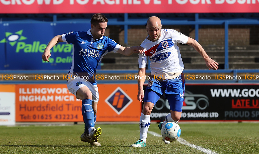 Mitch Hancox of Macclesfield Town and Luke Guttridge of Dagenham and Redbridge during Macclesfield Town vs Dagenham & Redbridge, Vanarama National League Football at the Moss Rose Stadium on 8th April 2017