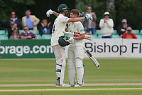Joe Clarke of Worcestershire celebrates reaching his century during Worcestershire CCC vs Essex CCC, Specsavers County Championship Division 1 Cricket at Blackfinch New Road on 12th May 2018