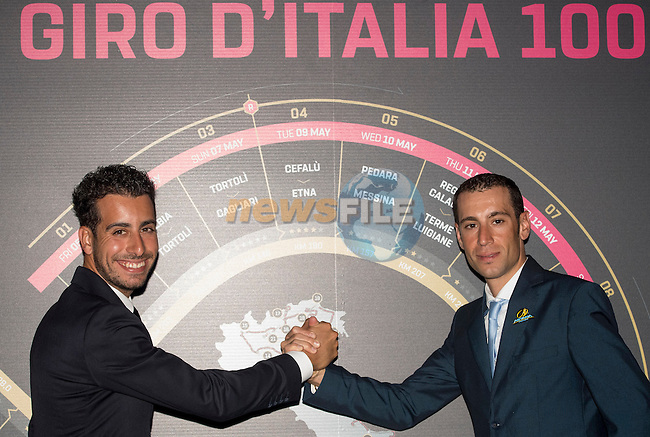 Fabio Aru and defending Champion Vincenzo Nibali (ITA) at the 100th edition Giro d`Italia 2017 route presentation held at the Ice Palace in Milan, 25th October 2016.<br /> Picture: ANSA/Claudio Peri | Newsfile<br /> <br /> <br /> All photos usage must carry mandatory copyright credit (&copy; Newsfile | ANSA/Claudio Peri)