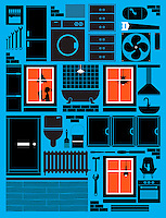 Tools and household appliances arranged as house with illuminated windows