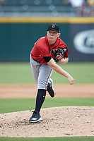 Indianapolis Indians starting pitcher Mitch Keller (49) follows through on his delivery against the Charlotte Knights at BB&T BallPark on August 22, 2018 in Charlotte, North Carolina.  The Indians defeated the Knights 6-4 in 11 innings.  (Brian Westerholt/Four Seam Images)