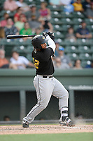 First baseman Onil Pena (32) of the West Virginia Power bats in a game against the Greenville Drive on Sunday, May 19, 2019, at Fluor Field at the West End in Greenville, South Carolina. Greenville won, 8-4. (Tom Priddy/Four Seam Images)