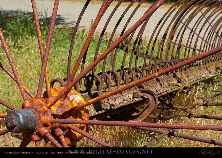 Antique Farm Equipment, Hay Rake Detail, Farm Field, Mariposa, California