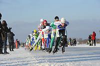 SCHAATSEN: EMMEN: Grote Rietplas, KPN NK Marathon Natuurijs, 08-02-2012, Jens Zwitser (66), Arjan Stroetinga (15), Geert-Jan van der Wal (39), ©foto: Martin de Jong