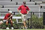 02 September 2012: Santa Clara head coach Cameron Rast (right) with assistant coach Eric Yamamoto (left). The North Carolina State University Wolfpack defeated the Santa Clara University Broncos 2-1 at Koskinen Stadium in Durham, North Carolina in a 2012 NCAA Division I Men's Soccer game.