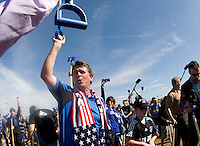 Earthquakes coach Frank Yallop celebrates after breaking ground during Groundbreaking Ceremony at new stadium in Santa Clara, California on October 21st, 2012.  San Jose Earthquakes broke Guinness World Record for 6,256 people break ground on Quakes' new stadium.