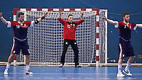 02 NOV 2011 - LONDON, GBR - Britain's Bobby White (centre) watches play in front of his goal during the Men's 2013 World Handball Championship qualification match against Israel at the National Sports Centre at Crystal Palace (PHOTO (C) NIGEL FARROW)