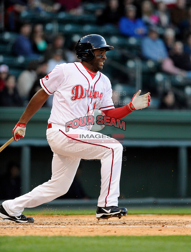 Outfielder Kendrick Perkins (10) of the Greenville Drive in a game against the Charleston RiverDogs on Opening Day, Friday, April 5, 2013, at Fluor Field at the West End in Greenville, South Carolina. (Tom Priddy/Four Seam Images)