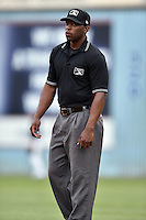First base umpire Chris Lloyd during a game between the Rome Braves and the Asheville Tourists on May 16, 2015 in Asheville, North Carolina. The Braves defeated the Tourists 6-3. (Tony Farlow/Four Seam Images)