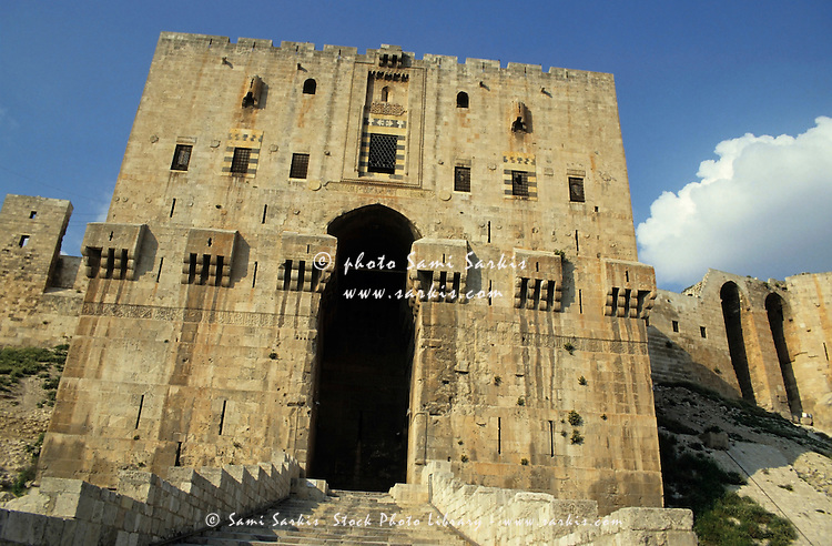 Entrance gate to an old citadel, Aleppo, Syria.