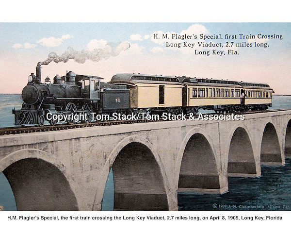 H.M.Flager's Special, first train crossing the Long Key Viaduct, Florida Keys, April 8, 1909.