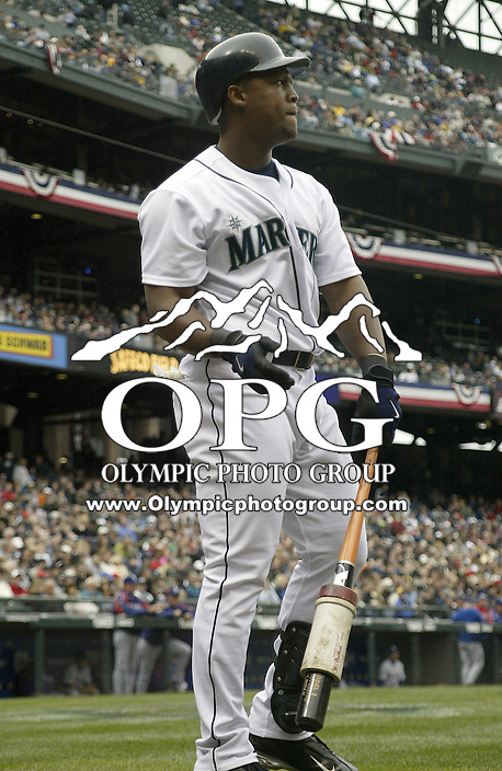 10 April 2005: Seattle Mariners third baseman Adrian Beltre waits on the on deck circle against the Texas Rangers at Safeco field in Seattle, WA.