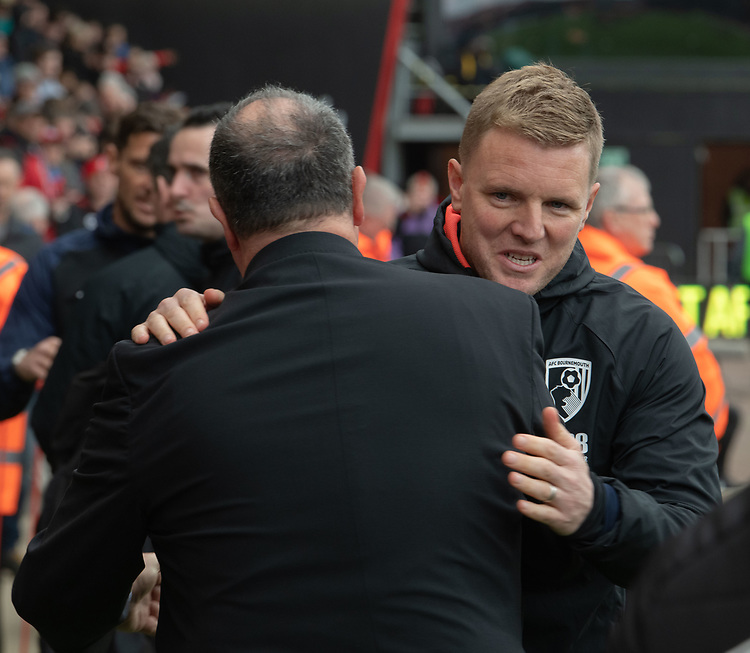Bournemouth manager Eddie Howe <br /> <br /> Photographer David Horton/CameraSport<br /> <br /> The Premier League - Bournemouth v Newcastle United - Saturday 16th March 2019 - Vitality Stadium - Bournemouth<br /> <br /> World Copyright © 2019 CameraSport. All rights reserved. 43 Linden Ave. Countesthorpe. Leicester. England. LE8 5PG - Tel: +44 (0) 116 277 4147 - admin@camerasport.com - www.camerasport.com