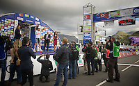 stage winner Mark Cavendish (GBR) onto the podium<br /> <br /> 2013 Tour of Britain<br /> stage 4: Stoke-on-Trent to Llanberis (188km)