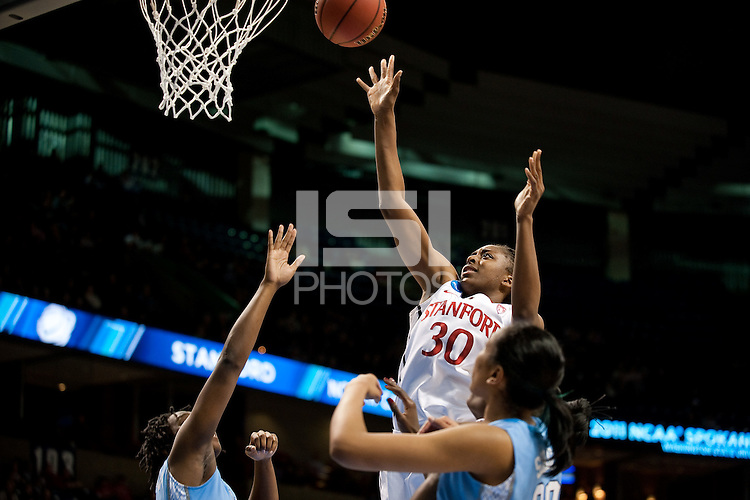 SPOKANE, WA - MARCH 26, 2011: Nnemkadi Ogwumike of Stanford Women's Basketball vs University of North Carolina, NCAA West Regionals on March 26, 2011.
