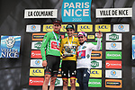 The overall winners Tiesj Benoot (BEL) Team Sunweb wins the points Green Jersey, Maximilian Schachmann (GER) Bora-Hansgrohe general classification Yellow Jersey and Sergio Andre Higuita (COL) EF Pro Cycling wins the young riders White Jersey at the end of Stage 7 the final stage of the 78th edition of Paris-Nice 2020, running 166.5km from Nice to Valdeblore La Colmiane, France. 14th March 2020.<br /> Picture: ASO/Fabien Boukla   Cyclefile<br /> All photos usage must carry mandatory copyright credit (© Cyclefile   ASO/Fabien Boukla)