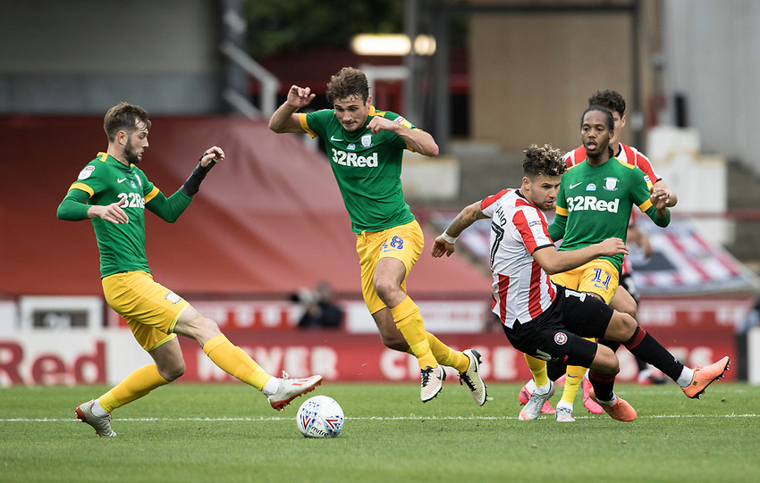 Preston North End's Tom Barkhuizen (left) competing with Brentford's Emiliano Marcondes <br /> <br /> Photographer Andrew Kearns/CameraSport<br /> <br /> The EFL Sky Bet Championship - Brentford v Preston North End - Wednesday 15th July 2020 - Griffin Park - Brentford <br /> <br /> World Copyright © 2020 CameraSport. All rights reserved. 43 Linden Ave. Countesthorpe. Leicester. England. LE8 5PG - Tel: +44 (0) 116 277 4147 - admin@camerasport.com - www.camerasport.com