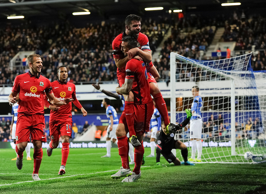 Blackburn Rovers' Shane Duffy celebrates scoring the opening goal with Grant Hanley<br /> <br /> Photographer Ashley Western/CameraSport<br /> <br /> Football - The Football League Sky Bet Championship - Queens Park Rangers v Blackburn Rovers - Wednesday 16th September 2015 - Loftus Road - London <br /> <br /> &copy; CameraSport - 43 Linden Ave. Countesthorpe. Leicester. England. LE8 5PG - Tel: +44 (0) 116 277 4147 - admin@camerasport.com - www.camerasport.com