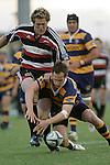 Hayden Reid  tries to gather the loose ball infront of James Maher during the Air NZ Cup rugby game between Bay of Plenty & Counties Manukau played at Blue Chip Stadium, Mt Maunganui on 16th of September, 2006. Bay of Plenty won 38 - 11.