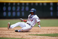 Jacksonville Jumbo Shrimp Magneuris Sierra (18) slides safely into third base during a Southern League game against the Tennessee Smokies on April 29, 2019 at Baseball Grounds of Jacksonville in Jacksonville, Florida.  Tennessee defeated Jacksonville 4-1.  (Mike Janes/Four Seam Images)