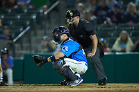 Myrtle Beach Pelicans catcher Tyler Payne (45) sets a target as home plate umpire Jake Bruner looks on during the game against the Winston-Salem Dash at TicketReturn.com Field on May 16, 2019 in Myrtle Beach, South Carolina. The Dash defeated the Pelicans 6-0. (Brian Westerholt/Four Seam Images)
