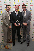 03/06/2014  <br /> Sgt Vincent Flanagan who recieved the Emergency Services Hero award from  Paddy Wallace &amp; Jason Byrne<br /> during the Pride of Ireland awards at the Mansion House, Dublin.<br /> Photo: Gareth Chaney Collins