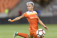 Houston, TX - Saturday July 08, 2017: Janine van Wyk attempts to gain control of a loose ball during a regular season National Women's Soccer League (NWSL) match between the Houston Dash and the Portland Thorns FC at BBVA Compass Stadium.