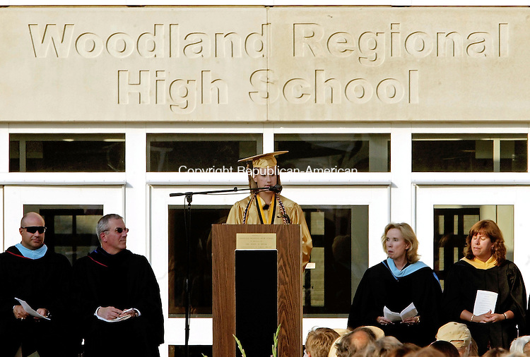 BEACON FALLS, CT - 21 JUNE 2005 -062105JS03--Woodland Regional High School valedictorian Cheryl Holowienko gives her address during gratuation ceremonies in the courtyard of the Beacon Falls school on Tuesday.  --Jim Shannon Photo--Sabrina Arroyo, Woodland Regional High School, Paul Castle are CQ