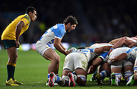 Tomas Cubelli of Argentina puts the ball into a scrum. Rugby World Cup Semi Final between Argentina v Australia on October 25, 2015 at Twickenham Stadium in London, England. Photo by: Patrick Khachfe / Onside Images