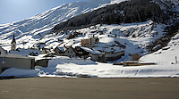 Snow covered village of Ritzingen in the Swiss alps- close to the Furkapass  tunnel. Ritzingen Switzerland.
