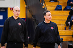 WATERBURY,  CT-011520JS15- Boys basketball referees Ryan Wodarski, left, and Ray Vanacore, make their way on the court prior to the game between Kennedy and Crosby Wednesday at Kennedy High School. Area schools are taking part in official appreciation week to thank those who officiate games. <br /> Jim Shannon Republican-American