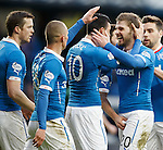 Haris Vuckic congratulated on scoring by Kyle Hutton who gets his balls grabbed by an enthuastic fellow Rangers player.
