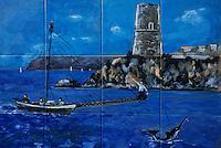 Europe/Italie/Calabre/Baganara : Céramique représentant la pêche à l'espadon chez Di Folco