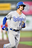 Burlington Royals Jake Means (9) rounds the bases after hitting a home run during game one of the Appalachian League Championship Series against the Johnson City Cardinals at TVA Credit Union Ballpark on September 2, 2019 in Johnson City, Tennessee. The Royals defeated the Cardinals 9-2 to take the series lead 1-0. (Tony Farlow/Four Seam Images)
