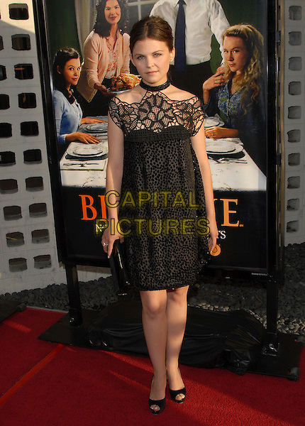 "GINNIFER GOODWIN.The Premiere of The HBO Original Series ""Big Love"" held at The Cinerama Dome in Hollywood, California, USA..June 7th, 2007                .full length black dress clutch purse bag halterneck off the shoulder lace crochet sheer print.CAP/DVS.©Debbie VanStory/Capital Pictures"