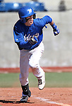 Western Nevada Wildcat's Colby Rice runs down the first base line after hitting a single in a college baseball game against Colorado Northwestern in Carson City, Nev., on Sunday, March 10, 2013. WNC swept the weekend series 4-0. .Photo by Cathleen Allison/Nevada Photo Source