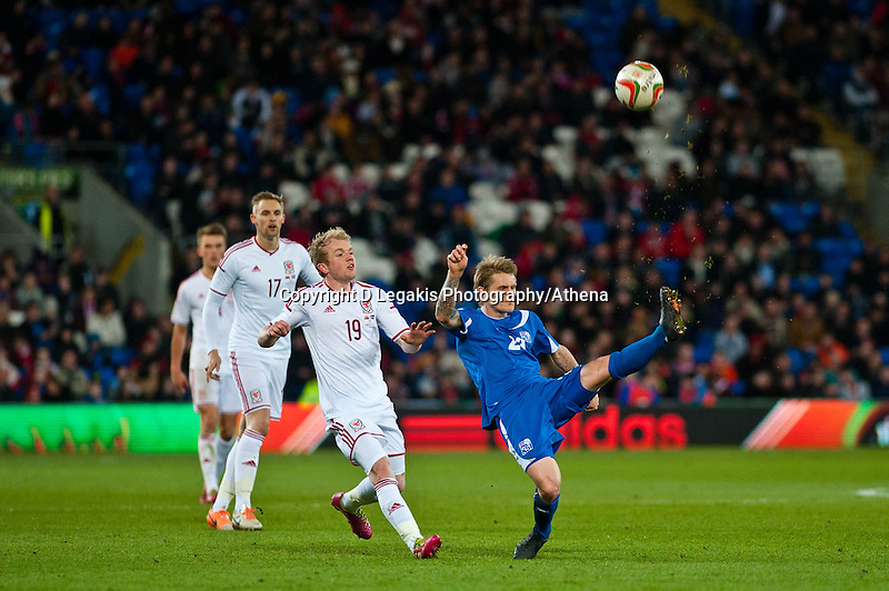 Wednesday 05 March 2014<br /> Pictured: Emil Hallfredson clears the ball for Iceland<br /> Re: International friendly Wales v Iceland at the Cardiff City Stadium, Cardiff,Wales UK