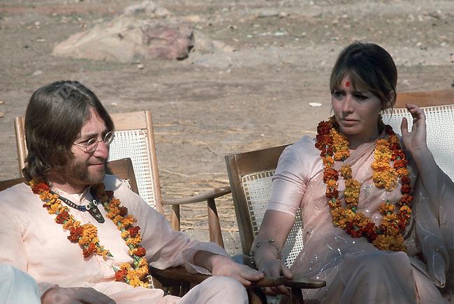 John Lennon with his wife Cynthia, Maharishi Mahesh Yogi's ashram, Rishikesh, India, January 1968