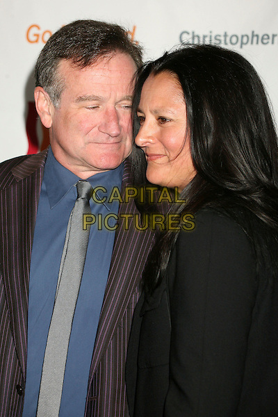 "ROBIN WILLIAMS & MARSHA (WIFE).""Making Magic Happen"", 3rd Annual Gala for the Christopher and Dana Reeve Foundation at the Century Plaza Hotel, Century City, California, USA..June 6th, 2007.half length married husband black pinstripe .CAP/ADM/BP.©Byron Purvis/AdMedia/Capital Pictures"