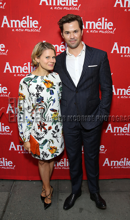 Celia Keenan-Bolger and Andrew Rannells attends the Broadway Opening Night performance of 'Amelie' at the Walter Kerr Theatre on April 3, 2017 in New York City