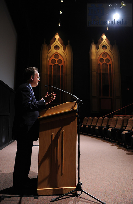 John J. DeGioia, president of Georgetown University and a member of the Knight Commission on Intercollegiate Athletics speaks to the Faculty Board on Athletics in the Browing Cinema at the DeBartolo Center for the Performing Arts...Photo by Matt Cashore/University of Notre Dame