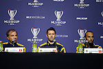 05 December 2014: From left: Los Angeles Galaxy head coach Bruce Arena, Robbie Keane (IRL), and Landon Donovan. Major League Soccer held a press conference at the StubHub Center in Carson, California two days before the Los Angeles Galaxy hosted the New England Revolution in MLS Cup 2014.