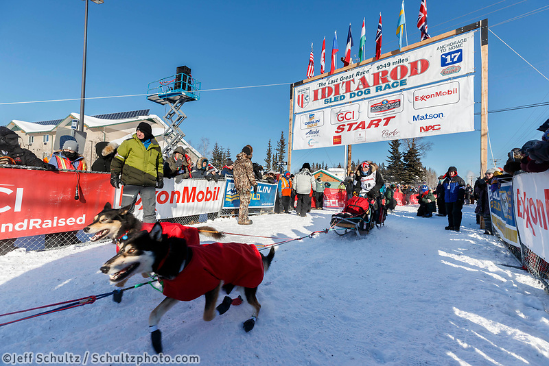 Roger Lee leaves the re-start line of the 2017 Iditarod in Fairbanks, Alaska at Pike's Landing on Monday March 6, 2017.<br /> <br /> Photo by Jeff Schultz/SchultzPhoto.com  (C) 2017  ALL RIGHTS RESVERVED