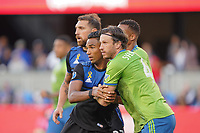 SAN JOSE, CA - SEPTEMBER 30: Danny Hoesen #9 of the San Jose Earthquakes and Gustav Svensson #4 of the Seattle Sounders FC during a Major League Soccer (MLS) match between the San Jose Earthquakes and the Seattle Sounders on September 30, 2019 at Avaya Stadium in San Jose, California.