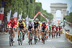 The peloton on Champs-Elysees during Stage 21 of the 104th edition of the Tour de France 2017, an individual time trial running 1.3km from Montgeron to Paris Champs-Elysees, France. 23rd July 2017.<br /> Picture: ASO/Thomas Maheux | Cyclefile<br /> <br /> <br /> All photos usage must carry mandatory copyright credit (&copy; Cyclefile | ASO/Thomas Maheux)