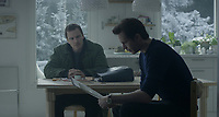 The Snowman (2017) <br /> Michael Fassbender &amp; James D'Arcy<br /> *Filmstill - Editorial Use Only*<br /> CAP/MFS<br /> Image supplied by Capital Pictures
