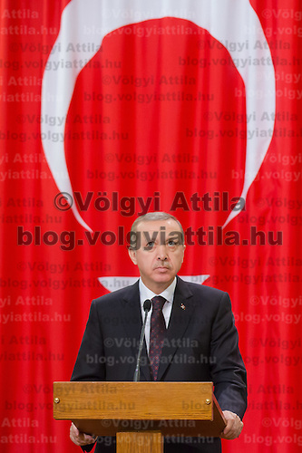 Recep Tayyip Erdogan Prime Minister of Turkey talks during a press conference in Budapest, Hungary on February 05, 2013. ATTILA VOLGYI