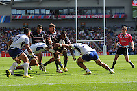 Andrew Durutalo of USA sniffs out the tryline but is stopped just short during Match 6 of the Rugby World Cup 2015 between Samoa and USA - 20/09/2015 - Brighton Community Stadium, Brighton <br /> Mandatory Credit: Rob Munro/Stewart Communications
